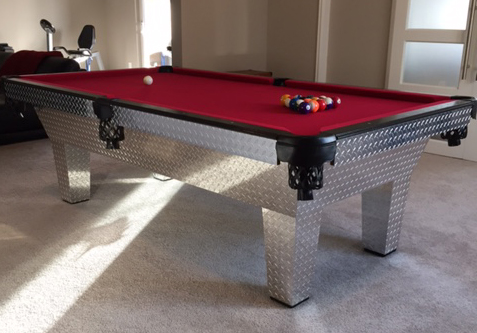Pool table finished with diamond plate from The Metal Link
