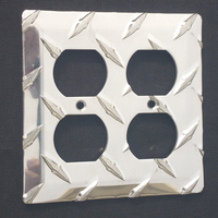 Diamond Plate double outlet covers and switch plates from The Metal Link