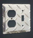 Diamond plate switch outlet cover from The Metal Link